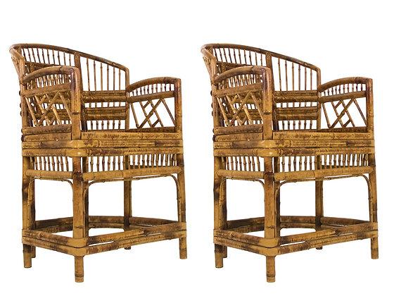#3362 Pair of Chinoiserie Rattan Armchairs