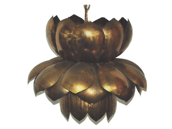 "#633 16"" Brass Lotus Pendant"