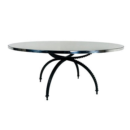 #4973 Large Round Mirror Top Spider Leg Dining Table by Baker