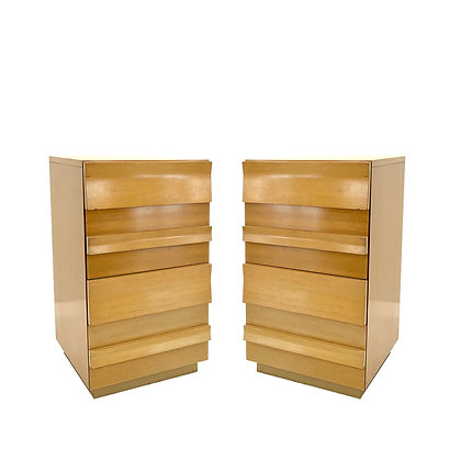 #4113 Pair of MCM Slat Front Tall Nightstands