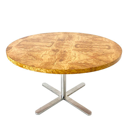 #4142 Round Burl Wood Top Dining Table with Star Base
