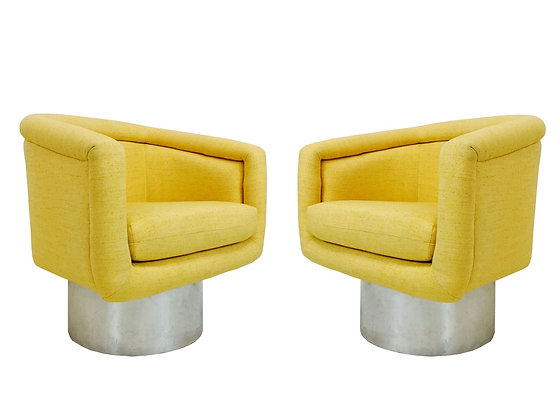 #2725 Pair of Chrome Base Swivel Chairs by Pace