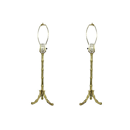 #3196 Pair of Cast Brass Faux Bamboo Table Lamps