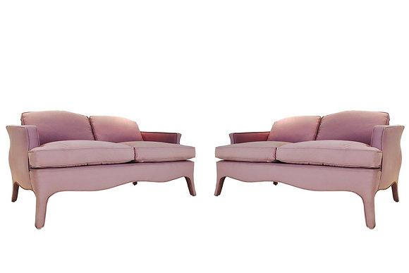 #1916 Pair Pink Modern Loveseats