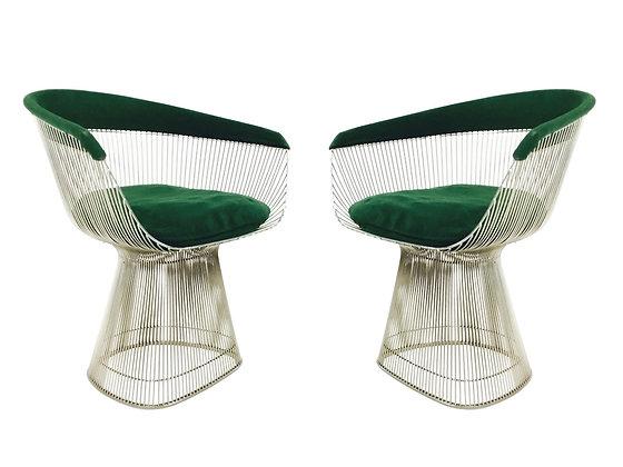 #2915 Pair Green Velvet Warren Platner Chairs