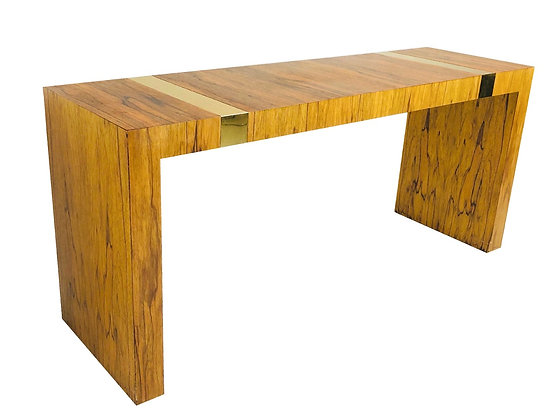 #3486 Rosewood & Brass Console Table by Milo Baughman for TC