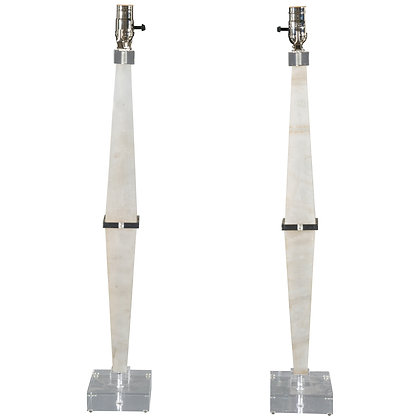 #4734 Pair of Alabaster Obelisk Lamps