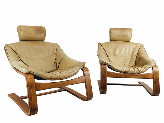 #3903 Pair of Cantilever Bentwood Lounge Chairs