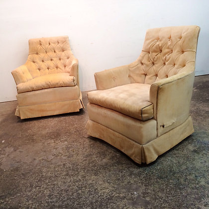 #6299 Pr Cream Tufted Back Chairs