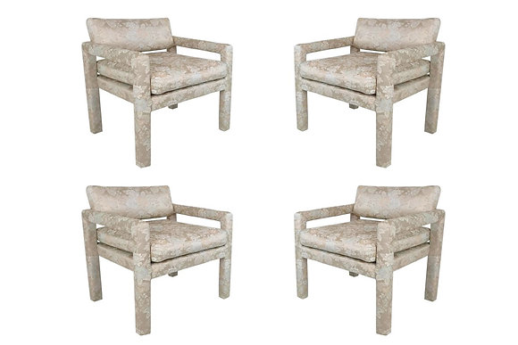 #1621 Set of 4 Silk Damask Parson Chairs by Milo B