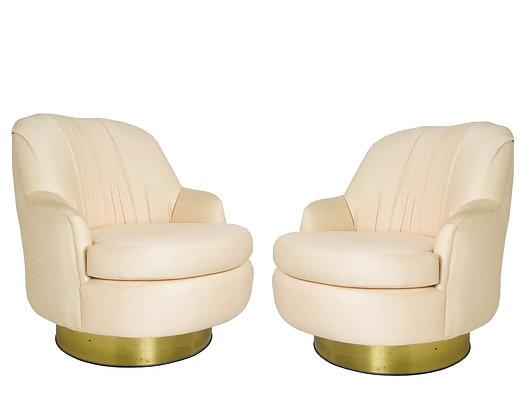 #3661 Pair Peach Milo Baughman Swivel Chairs with Brass Plinth Bases