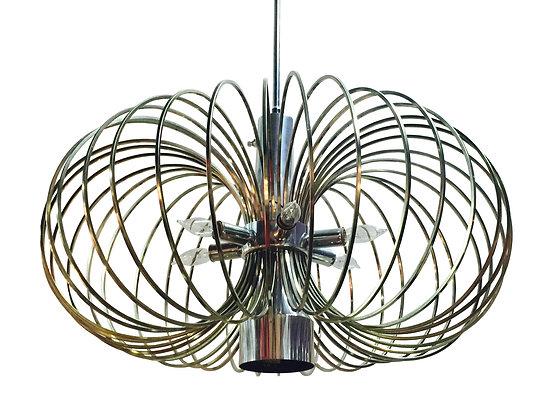 #2100 Brass & Nickel Sciolari Lightolier Birdcage Chandy