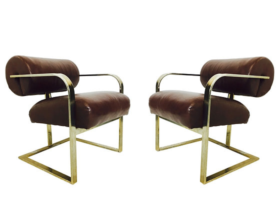 #3009 Pair Bolster Back Milo Baughman Chairs