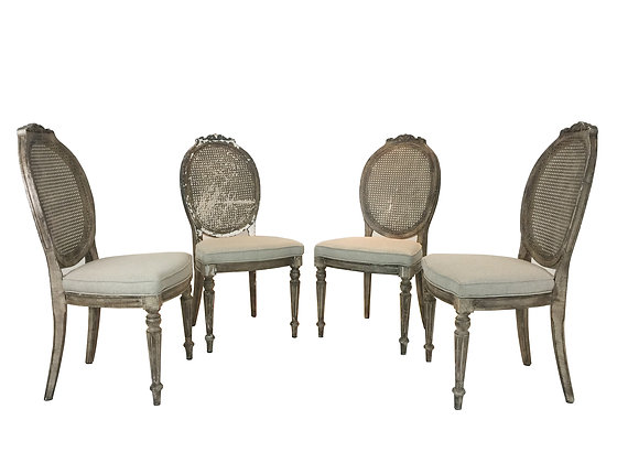 #1949 Set of 4 Cane Back Dining Chairs
