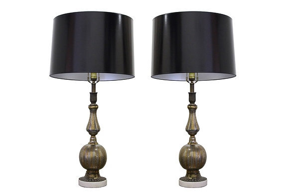 # Pair of Brass and Nickel Etched Table Lamps