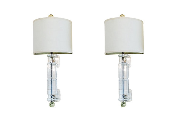 #1902 Pair Lucite Wall Sconces with Shades