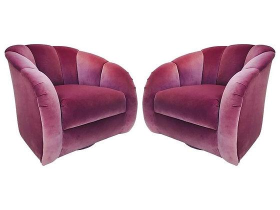 #2103 Pr Orchid Velvet Channel Back Swivel Chairs