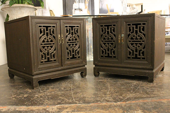 #1082 Pair Oriental Scroll Cabinets