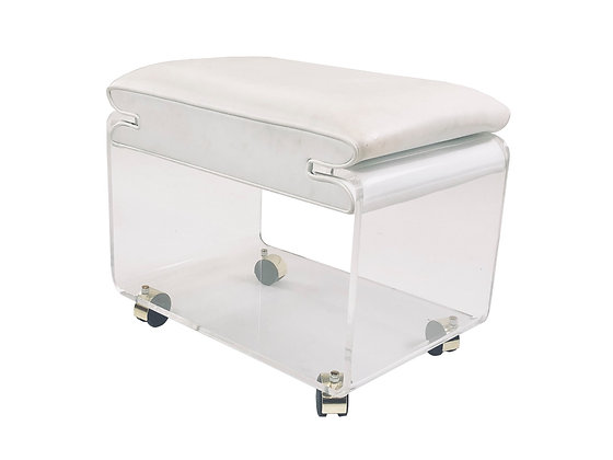 #3459 Rolling Lucite Vanity Stool with White Vinyl