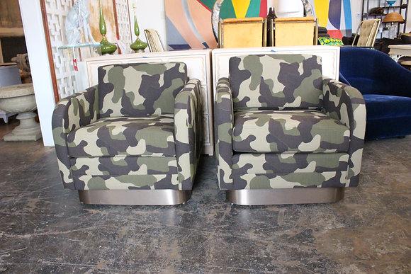 8831 Pair Camo Chairs w/ Bronze Base