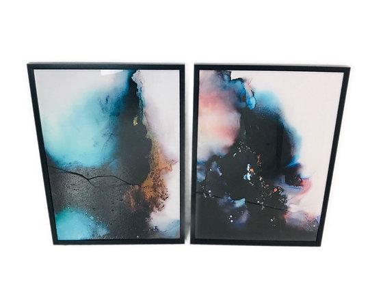 #4464 Pair Black Framed Art