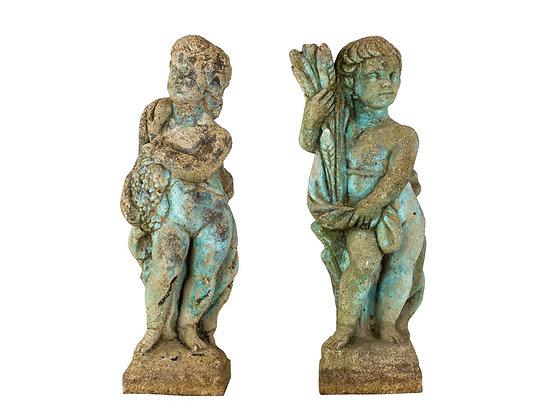 #3104 Pair Concrete Cherub Statues