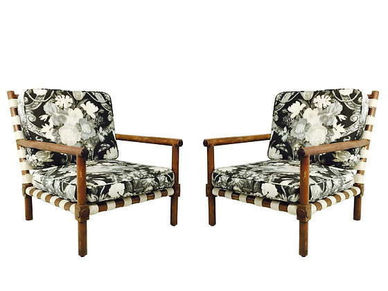 #2862 Pair of Woven Strap Chairs & Ottoman by Harry Berger