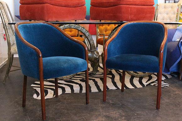 #675 Pr Sapphire Mohair Chairs by Ward Bennett