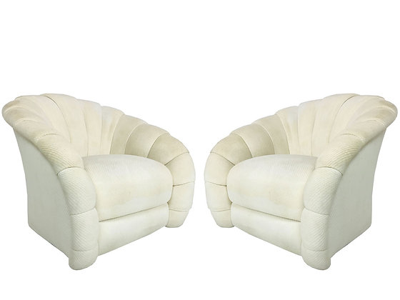 Pair Directional Channel Back Chairs