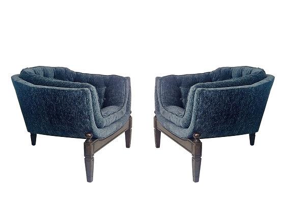 #1603 Pr 3-Legged Blue Lounge Chairs