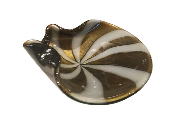 #1934 Black & Gold Swirl Stripe Murano Glass Bowl