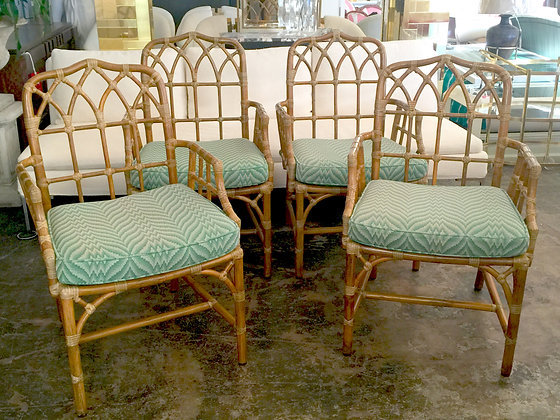 #1363 Set of Rattan McGuire Chairs