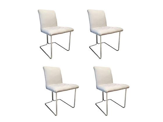 #3223 Set of 4 White Vinyl & Chrome Dining Chairs