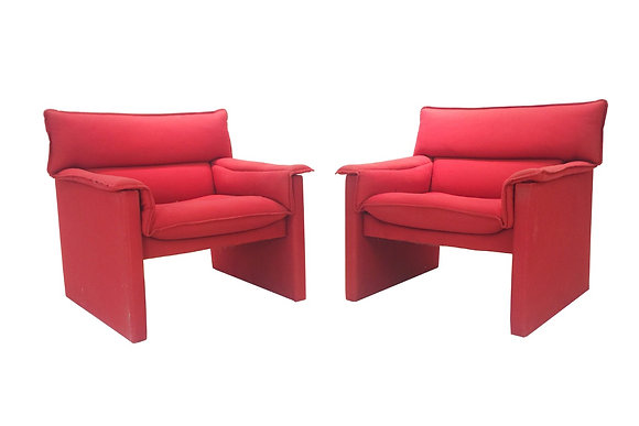 #1907 Pair Red Lounge Chairs by Preview