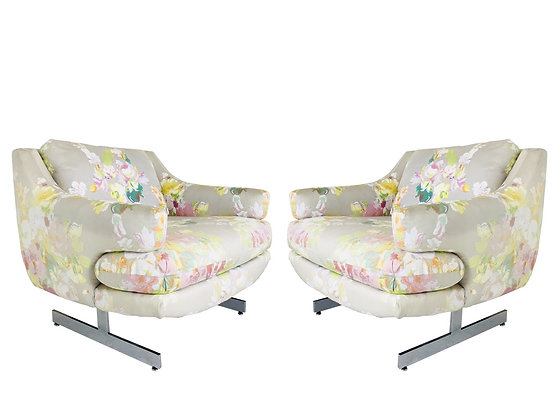 #3648 Pair Chrome Lounge Chairs in the Style of Milo Baughman by Flair Inc.