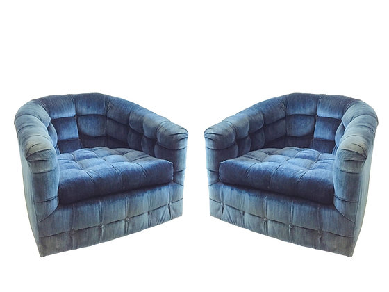 #2997 Pair Navy Tufted Armchairs