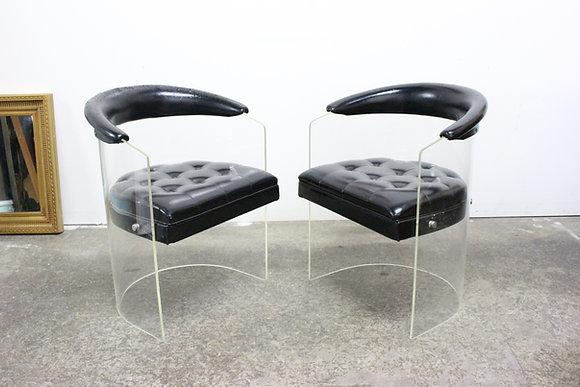 8844 Pair Kagan Style Lucite Chairs