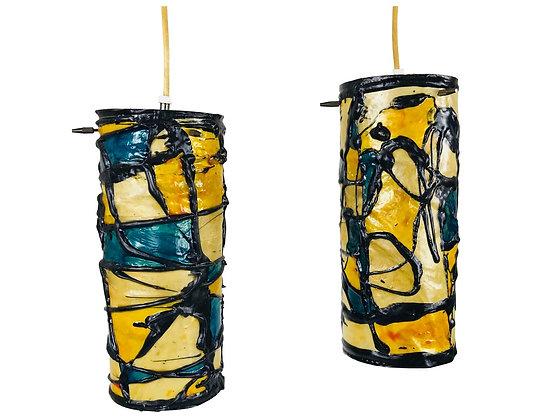 #3689 Pair Colorful Artistic Pendants