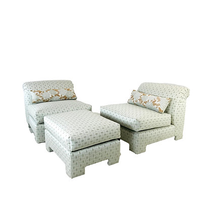 #4853 80's Rolled Back Slipper Chairs with Ottoman