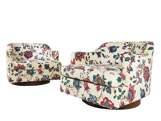 #3739 Pair of Floral Swivel Chairs in the Style of Milo Baughman Harvey Probber