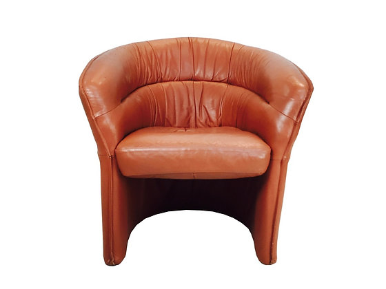 #3537 Leather Horseshoe Shaped Lounge Chair