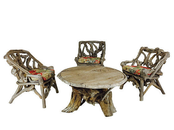 #3067 Adirondack Root Chairs and Table Set