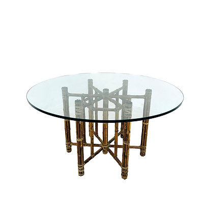 #4850 McGuire Rattan & Bamboo Dining Table