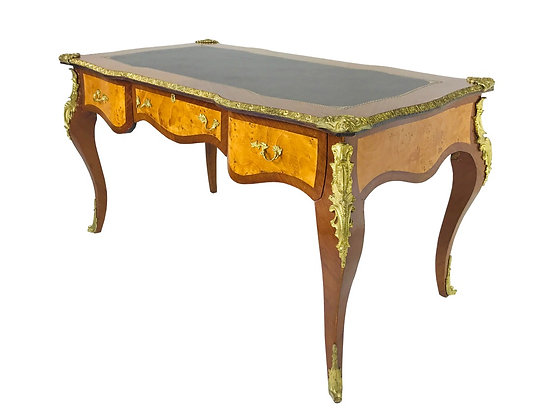 #3703 French Ormolu Desk with Burl Wood & Leather Top