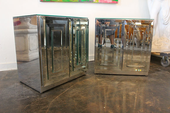 8379 Pair Mirrored Night Stands by Ello