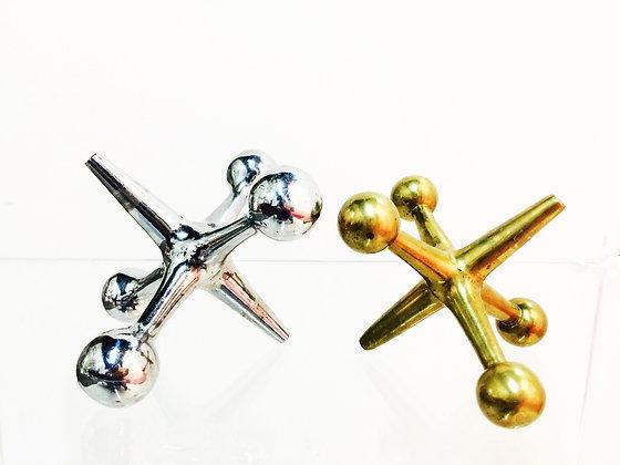 #2755 Pair Chrome & Brass Jax