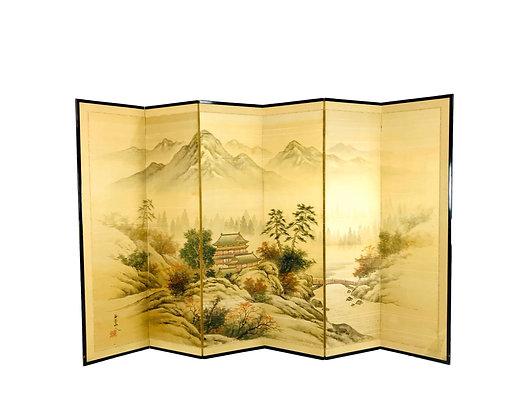 #5620 Japanese Byobu Hand Painted Silk Screen