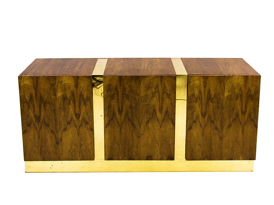 #3109 Zebra Wood & Brass Credenza by Milo Baughman