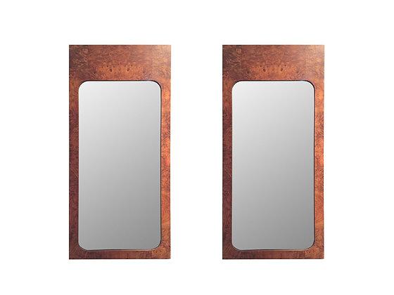 #8774 Pair Burl Milo Baughman Style Mirrors