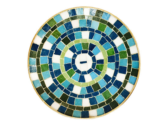 #2763 Blue & White Mosaic Plate with Gold Accents